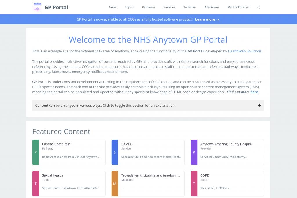 Screenshot of GP Portal