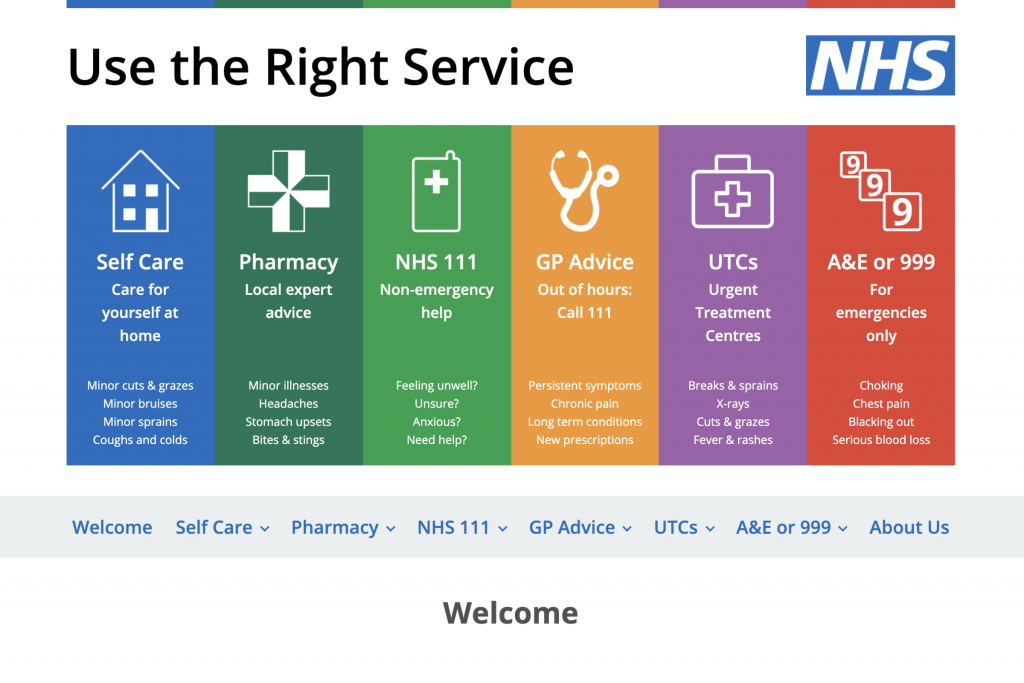Screenshot of the Use The Right Service website